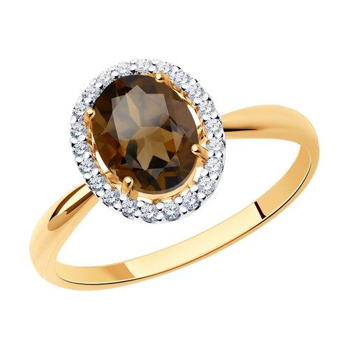 Кольцо из золота с раухтопазом и фианитами (37714966) - фото