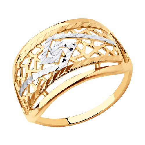 Кольцо из золота с алмазной гранью (017661) - фото