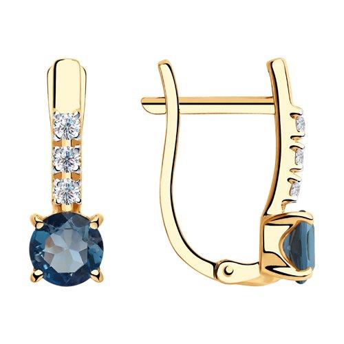 Серьги из золота с синими топазами и фианитами (725910) - фото
