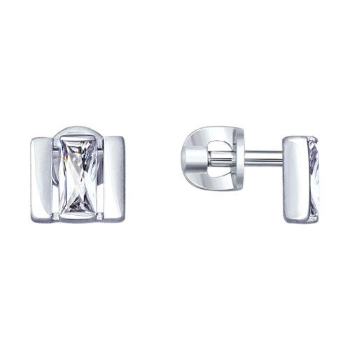 Серьги из серебра с фианитами (94022994) - фото