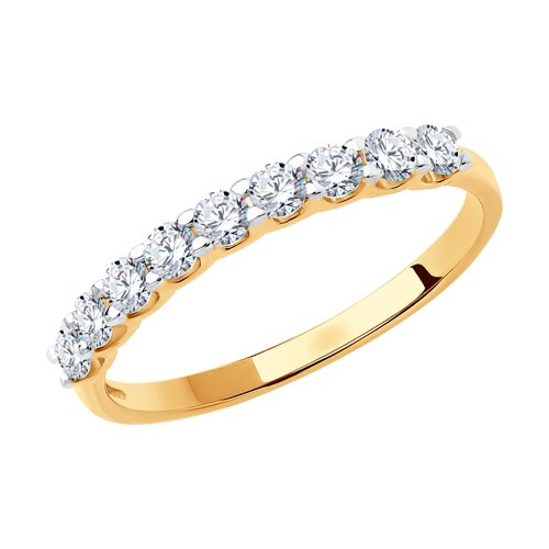 Кольцо из золота с фианитами (017169) - фото