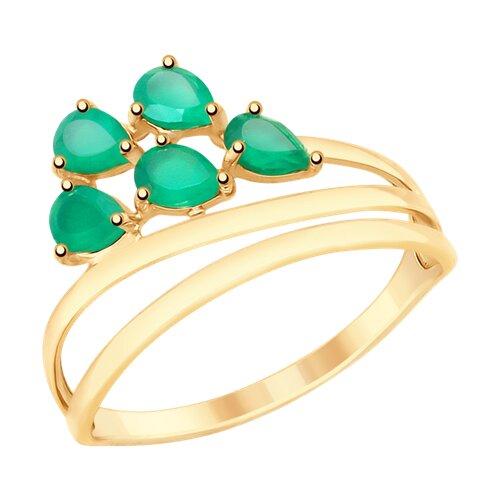 Кольцо из золота с агатами (715337) - фото
