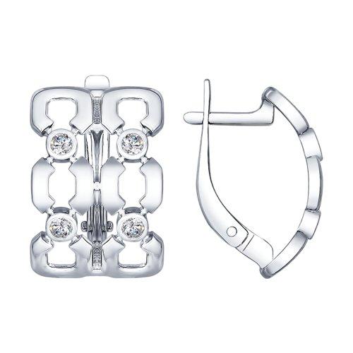 Серьги из серебра с фианитами (94022649) - фото