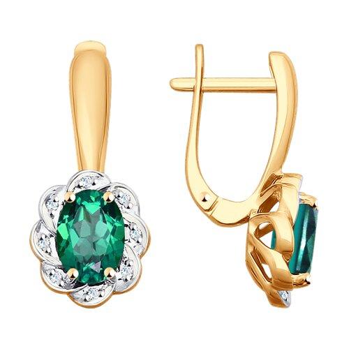 цены Серьги SOKOLOV из золота с бриллиантами и изумрудами
