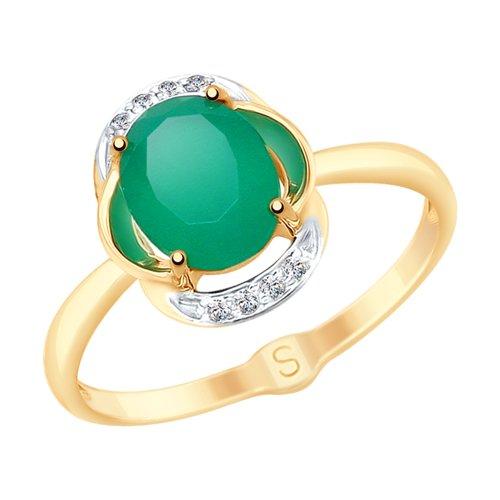 Кольцо из золота с агатом и фианитами (715218) - фото