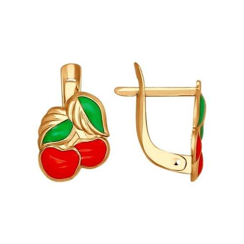 Серьги из золота «Вишенки» с эмалью