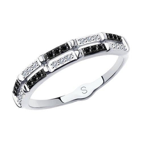 Кольцо из белого золота с бесцветными и чёрными бриллиантами