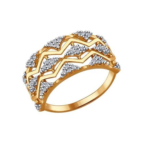 Кольцо из золочёного серебра с фианитами (93010646) - фото