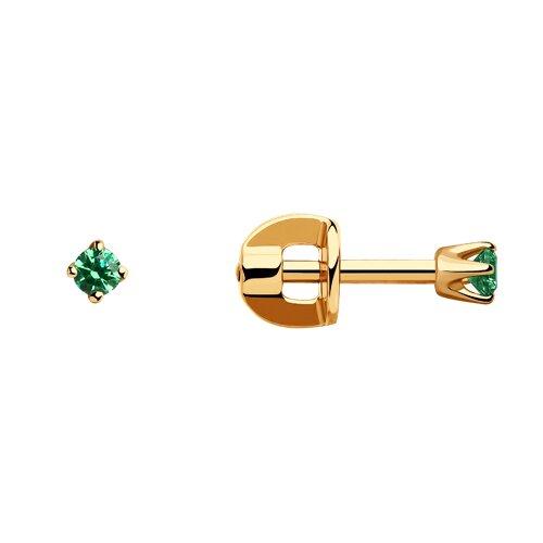 Серьги-пусеты из золота с зелеными фианитами