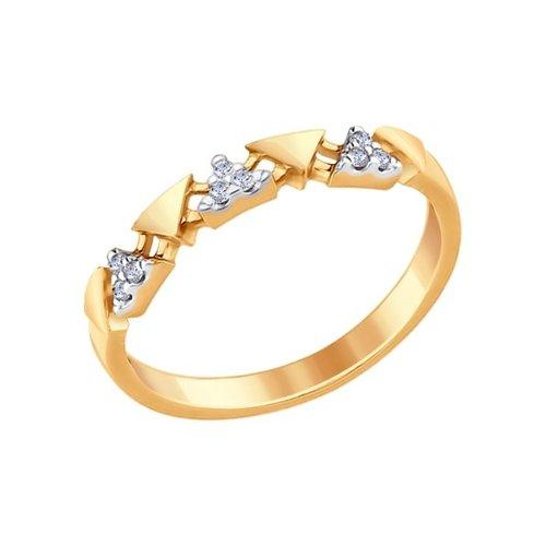 Кольцо из золочёного серебра с фианитами (93010644) - фото