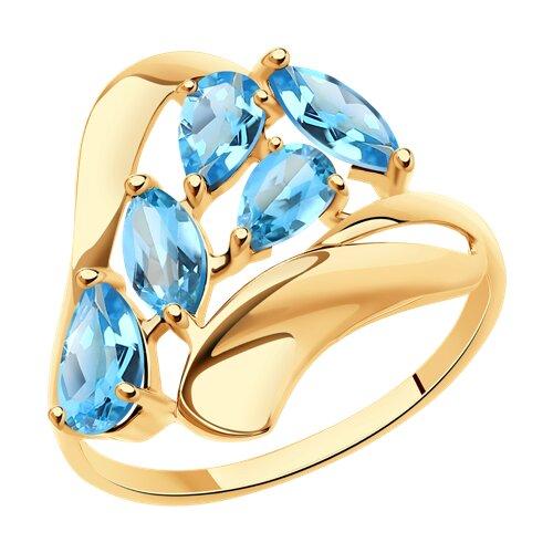 Кольцо из золота с голубыми топазами (714657) - фото
