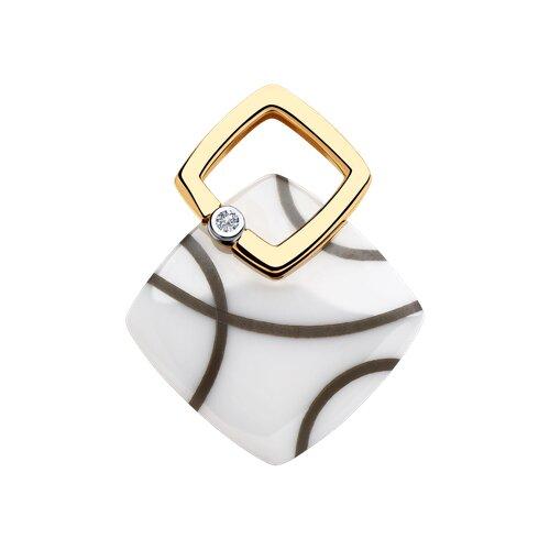 Подвеска из золота с бриллиантом и белыми керамическими вставками
