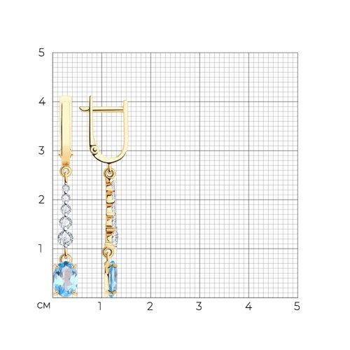 Серьги из красного золота с топазом и фианитами 727373 SOKOLOV фото 2