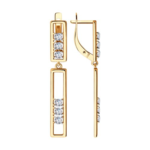 Серьги из золота с фианитами (028454) - фото