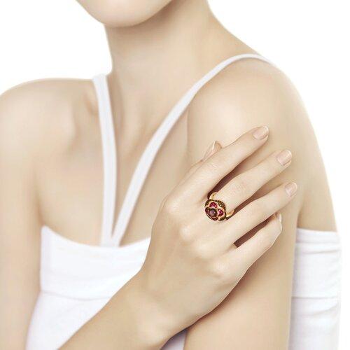 Кольцо из золочёного серебра с гранатом и жёлтыми и красными фианитами (92011431) - фото №2