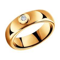 Керамическое кольцо с золотом и бриллиантом