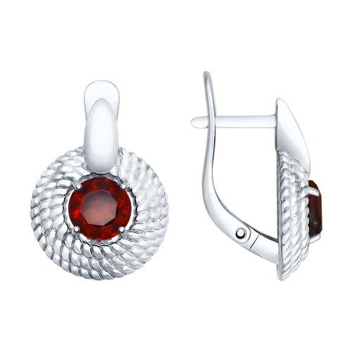 Серьги из серебра с гранатами (92021738) - фото