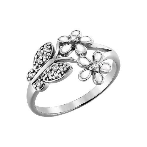 Серебряное кольцо с бабочкой и цветками