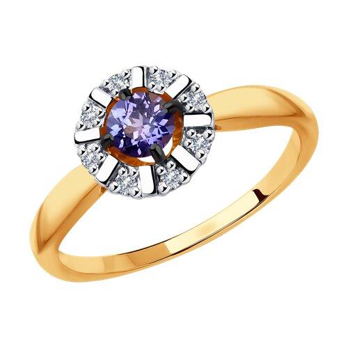 Кольцо из золота с бриллиантами и танзанитом (6014115) - фото