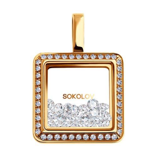 Подвеска из золота с фианитами и минеральным стеклом (035350) - фото
