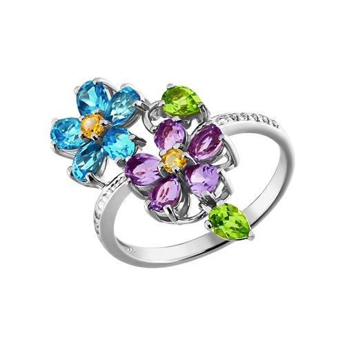 Кольцо с цветочной композицией из цветных камней