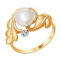Кольцо из золота с бриллиантом и жемчугом