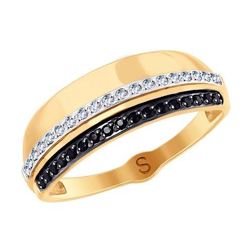 Кольцо SOKOLOV из золота с бесцветными и чёрными фианитами кольцо sokolov из золота с бесцветными и чёрными фианитами