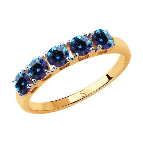 Кольцо из золота с синими Swarovski Zirconia (81010445) - фото