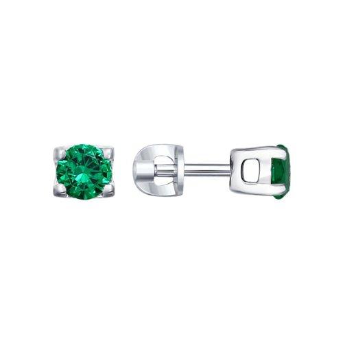 Серьги-пусеты из серебра с зелеными фианитами (94021475) - фото