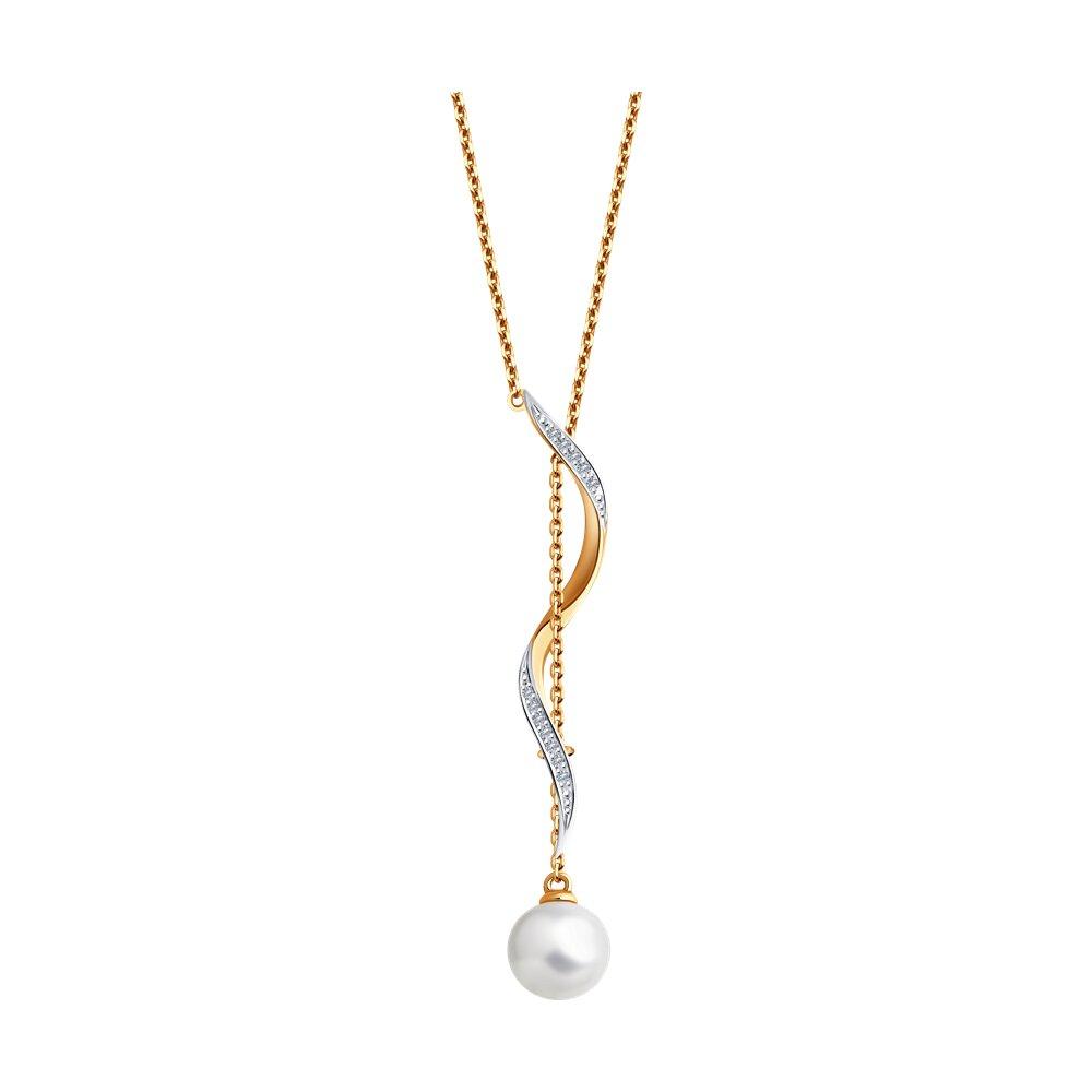 Колье SOKOLOV из золота с бриллиантами и жемчугом фото
