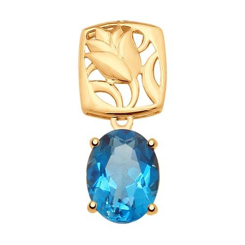 Подвеска из золота с синим топазом (731795) - фото