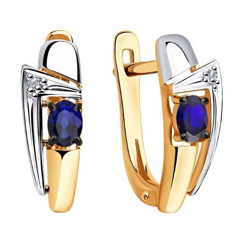 Серьги из золота с бриллиантами и синими корундами (6022145) - фото №2