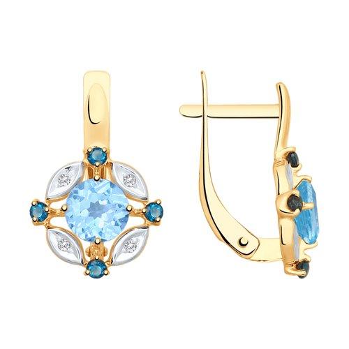 Серьги из золота с голубыми и синими топазами и фианитами (725407) - фото