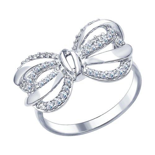 Кольцо из серебра с фианитами (94012331) - фото