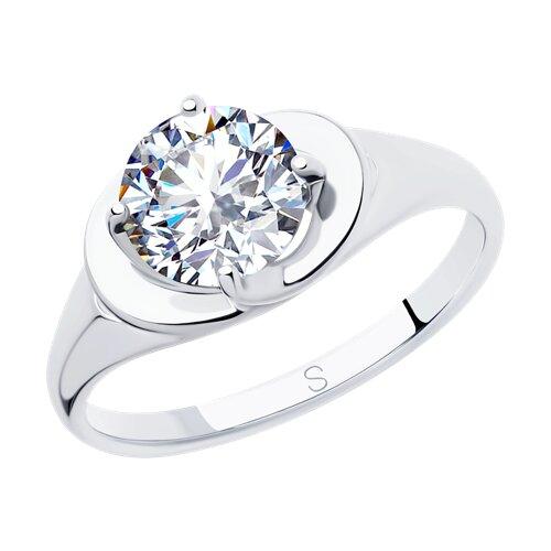 Кольцо из серебра с фианитом (94012825) - фото
