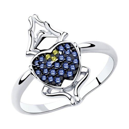 Кольцо из серебра с фианитами (94013001) - фото