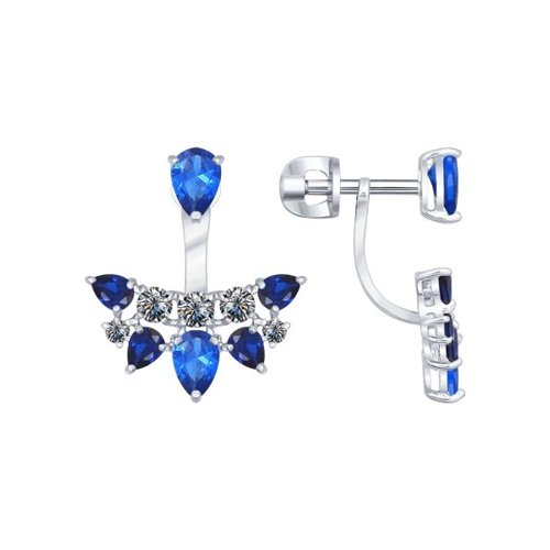Серьги из серебра с синими фианитами (94021937) - фото