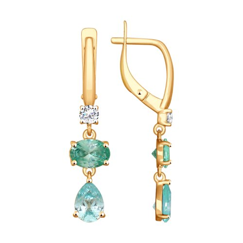 Серьги из золота с бесцветными и зелеными Swarovski Zirconia (81020340) - фото