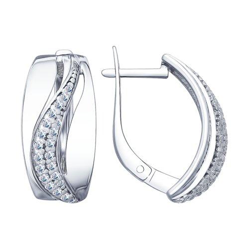 Серьги из серебра с фианитами (94022651) - фото