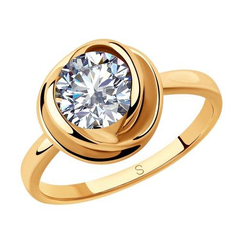 Кольцо из золочёного серебра с фианитом (93010793) - фото