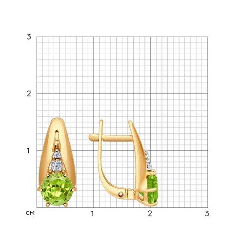 Серьги из золота с хризолитами и фианитами 724573 SOKOLOV фото 2