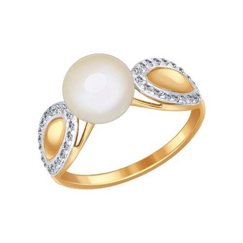 Кольцо из золота с жемчугом и фианитами (791007) - фото