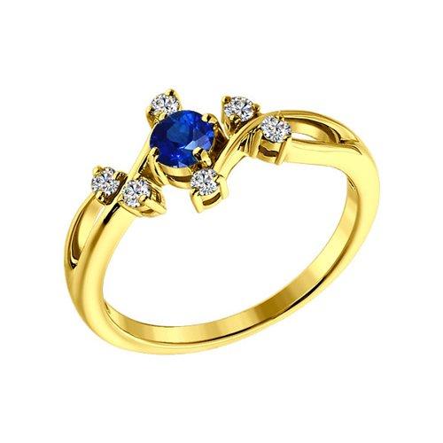 Фото - Кольцо SOKOLOV из жёлтого золота с бриллиантами и сапфиром кольцо с раухтопазами перидотами и бриллиантами из жёлтого золота