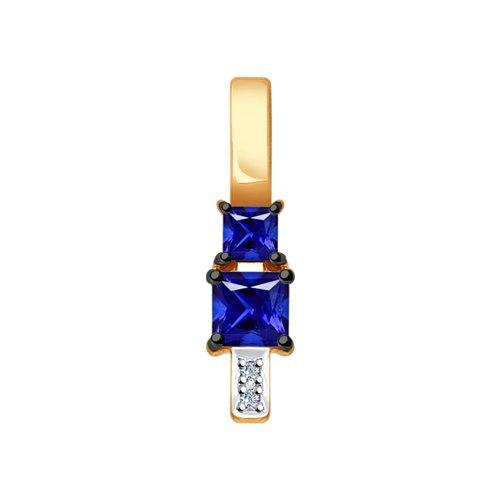Подвеска из золота с бриллиантами и синими корундами (синт.)