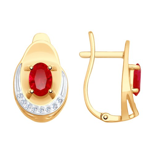 Серьги из золота с красными корундами (синт.) и фианитами (725547) - фото
