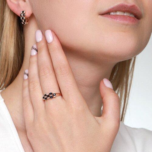 Кольцо из золота с бриллиантами и сапфирами (2010670) - фото №2