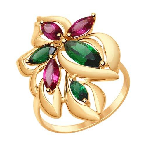 Кольцо из золота с родолитами и зелеными ситаллами (714769) - фото