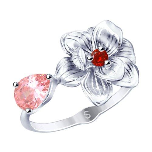 Кольцо из серебра с фианитами (94012786) - фото