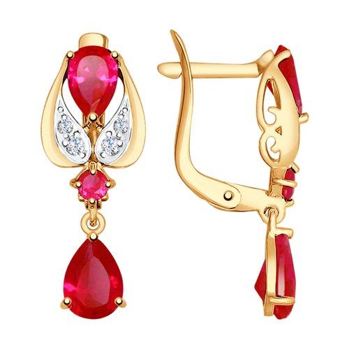 Серьги из золота с корундами рубиновыми (синт.) и фианитами