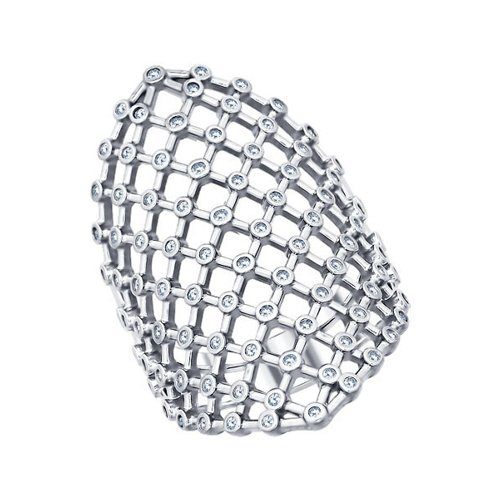 Кольцо из серебра с фианитами (94011249) - фото
